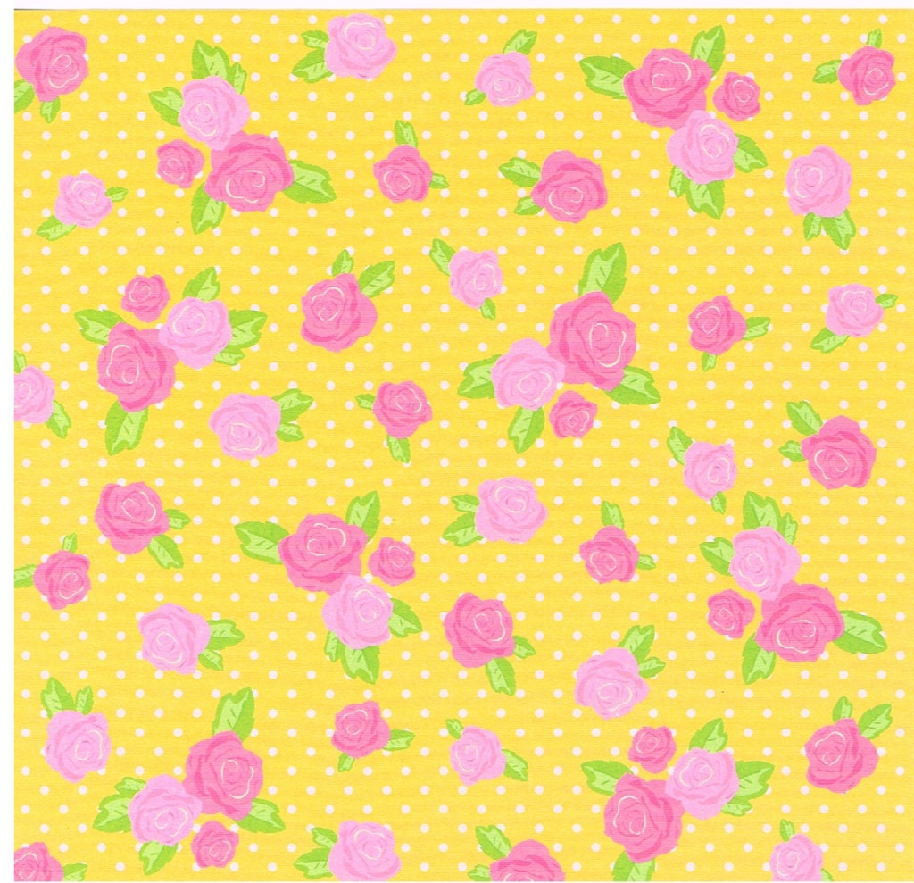 yellow floral print origami paper rose chiyogami paper