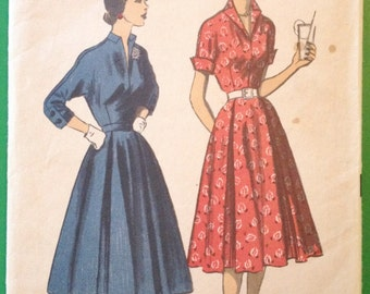 Vintage Advance 5971, 1950's Casual Dress, Size 9, 3/4 Sleeves, Fitted Bodice, Full Skirt