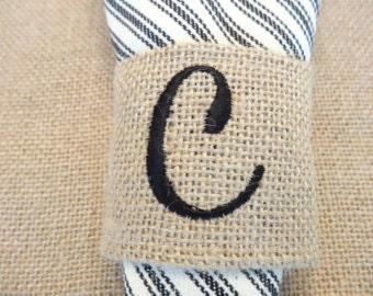 Monogram Burlap Napkin Ring