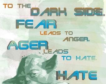 Yoda Star Wars Quote Digital Print
