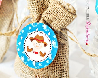 Cowboy Baby Printable Party Favor Tags, 2 inch Cupcake Toppers, Baby Cowboy Square Tags, Western Baby Party, cowboy baby shower tags