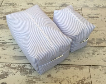 Handmade Blue Pinstripe Cosmetic And Wash Bag Set