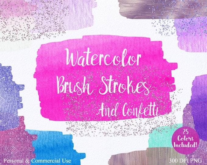 WATERCOLOR PAINT STROKES Clipart Commercial Use Clipart 25 Watercolor Brush Pink Blue Rose Gold Confetti Watercolor Textures Logo Clip Art