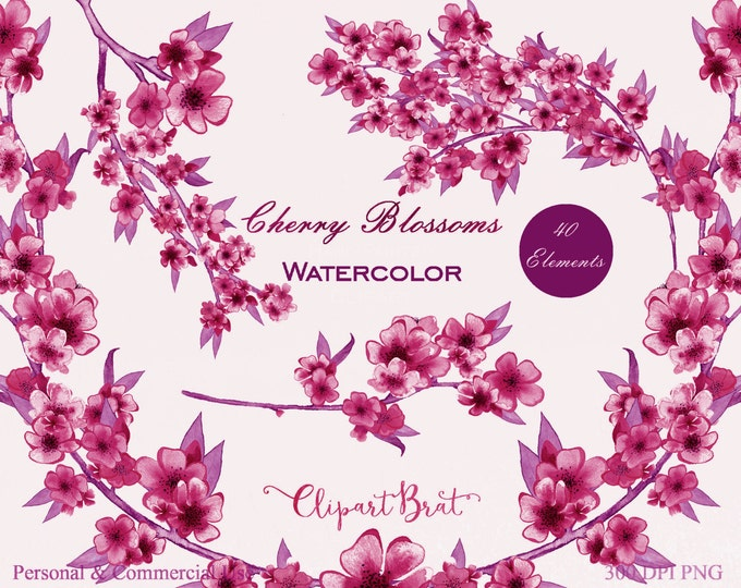 MAGENTA WATERCOLOR FLOWER Clipart Commercial Use Clipart Wedding Clipart Hand-Painted Pink Cherry Blossom Watercolour Floral Wreath Clip Art