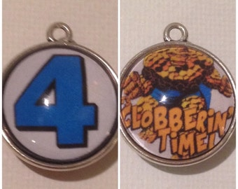 Fantastic 4 The Thing 2 Sided Charm Pendant Keychain