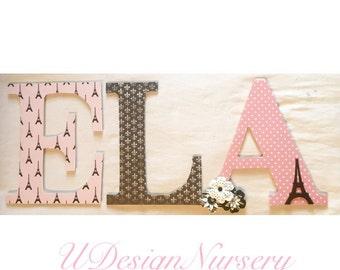 Paris Themed Wooden Nursery Letters - Paris Decor - Baby Shower Decor - Paris Decor - Wooden Letters - Kids Rooms - Paris Themed Letters