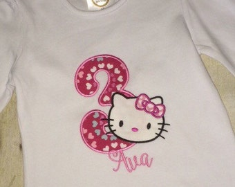 Hello Kitty Birthday Party Shirt with applique number, embroidered name