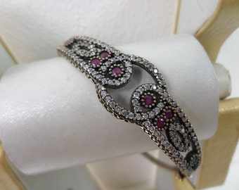 Turkish Ottoman Sultan Ruby sterling silver antique Bangle JW010