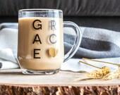 Grace Glass Mug, Metallic Gold & Black, 10 oz.