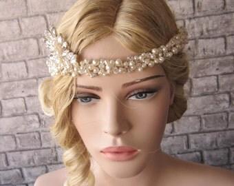 Rhinestone Crystal Pearl bridal headband/Wedding  Headpiece,Crystal and Pearl bridal Wedding headband,rhinestone tiara