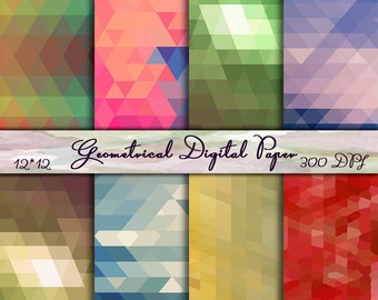 INSTANT DOWNLOAD - Abstract Digital Paper Pack - Geometrical Scrapbook Paper, Colorful Digital Paper - Digital Scrapbooking - Commercial use