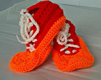 Baby Trainers, Baby Shoes, Sneakers for Girls, Slippers for boys, Crib Shoes, Baby Shower Gift, Soft Sole High Tops, Crochet Baby Booties