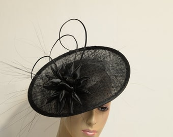 Black Sinamay Fascinator,Kentucky Derby Fascinator,English Royal Hat, Kate Middleton Hat, Wedding Hat, Formal Hat, Church Hat