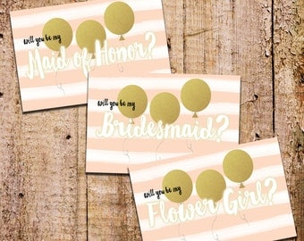 "4x6 ""Will You Be My Bridesmaid"" + Watercolor Stripes and Gold Balloons"