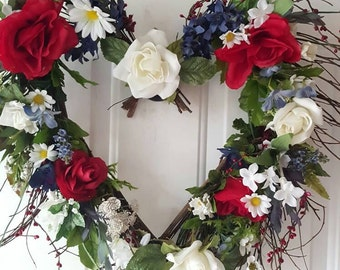 Memorial Day July 4th holiday Twig Wreath red white and blue flowers about 25 inches wide
