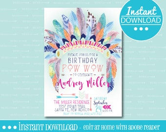 Tribal Birthday Party Invitation - EDITABLE - INSTANT DOWNLOAD - Editable File - Customize - Edit Yourself with Adobe Reader-Printable