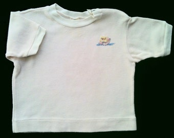 Soft pink tee shirt for infant XL (12-16 mo.) embroidered vintage '70s gently used
