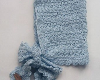 Crochet Pastel Hoodie with Scarf - 9/12 months