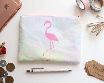 SALE // Flamingo Zipper Pouch, Pencil Case, Makeup Bag, Cotton Pouch - Multi