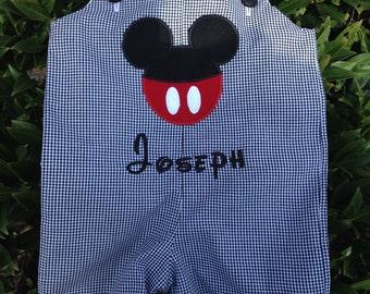mickey mouse ears black gingham jon jon, shortall, romper.