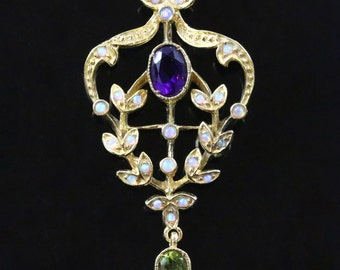 Suffragette Amethyst Opal and Peridot Pendant & Chain suffragette style