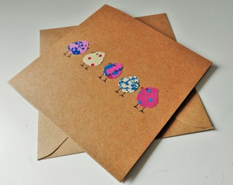Fabric Card - Bird card - Birthday card - hen party invitation - friends birthday card - card for friend - mum birthday card - hen party