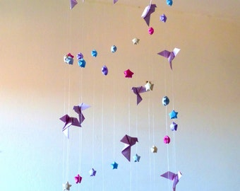 "Great Mobile for baby in origami ""Flight to the stars"""