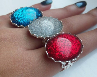 Holographic Glitter Ring