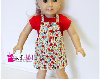 American made Girl Doll Clothes, 18 inch Doll Clothing, Red Top with Tan Floral Jumper made to fit like American girl doll clothes