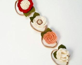 Felt Headband Set | Felt Flower Headband - Felt Flower Set - 4 Headband Set- Custom Headband -