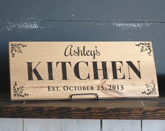 Kitchen Signs - Personalized Kitchen Sign - Wood Kitchen Signs -Painted Sign - Kitchen Signage - Kitchen Decor - Wall Decor - Rustic Kitchen