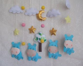 Baby crib mobile Hippo,Jungle animals-Safari Animals mobile,cute mobile,baby kit mobile,hippo mobile,baby bedding,baby cot mobile