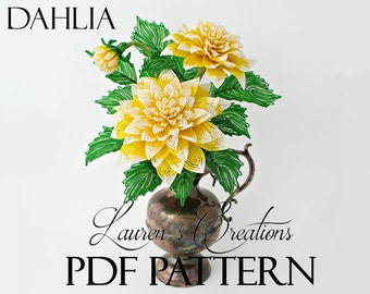 PDF Pattern - French Beaded Dahlias, seed bead flower tutorials, wire wrapped flowers, Lauren's Creations Patterns, DIY beading tutorial