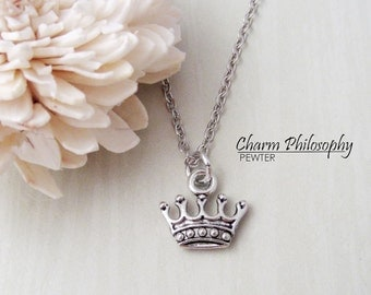 Princess Crown Necklace - Crown Charms - Antique Silver Jewelry - Matching Earrings