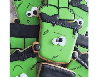 One Dozen Frankenstein Inspired Decorated Sugar Cookies - Halloween Cookies - Halloween