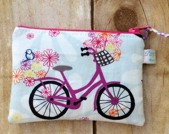 Coin purse /coin pouch/ small zipper pouch/ bicycle with flower basket