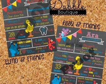 Sesame Street Birthday Chalkboard / 1st birthday chalkboard / 2nd birthday chalkboard/ elmo abby big bird cookie monster board