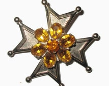 Maltese Cross Brooch, Vintage Topaz Flower Pin,  Crystal, Prong Set, Mid Century Jewelry, 1950s-1960s, Gold Tone
