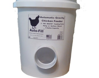 """SAVE - 2 Pack - """"No  Waste""""    Chicken / Duck Feeder - 5 Gallon / 45+ lb. Capacity - Hanging Gravity Feeder - 3"""" Stay Dry Ports-Made in USA"""
