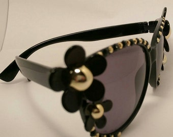 Black and Gold Flower Sunglasses
