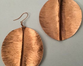 Large Copper leaf earrings