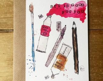 Art Is Good For You watercolour illustraion Postcard