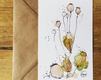 Poppyhead watercolour illustraion Postcard
