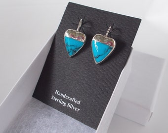 Turquoise and .925 Sterling Silver Dangle Heart Fishhook Earrings