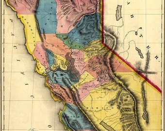 Map of California, the gold region, 1851.  Gold mines and mining.   Vintage topographical reproduction map