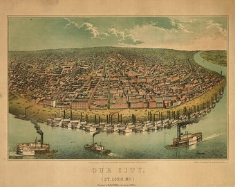 Saint Louis, Missouri as seen from above the Mississippi River 1859.  Reproduction Vintage Bird's Eye View Map. MO0003