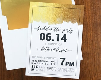 Gold bachelorette invitation - Bachelorette Invites with Itinerary - Printed Invitations - Calligraphy - Black and White