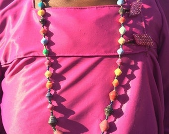 Multi-colored Paper Bead Necklace