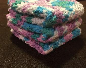 Purple/teal/white/blue dish cloths set of 3