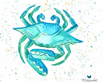 Blue Crab and Red Lobster Sealife prints!!  Bright and Beachy watercolors. 8x10 or 5x7